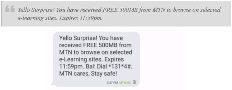 MTN Free 500MB on mPulse